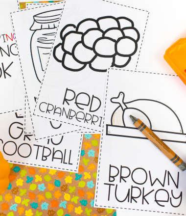 Thanksgiving Coloring book pages with crayons and pumpkins