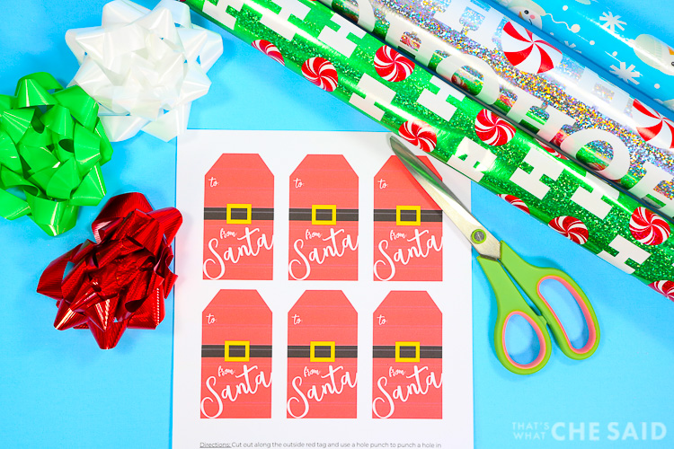 free printable from santa gift tags with giftwrap