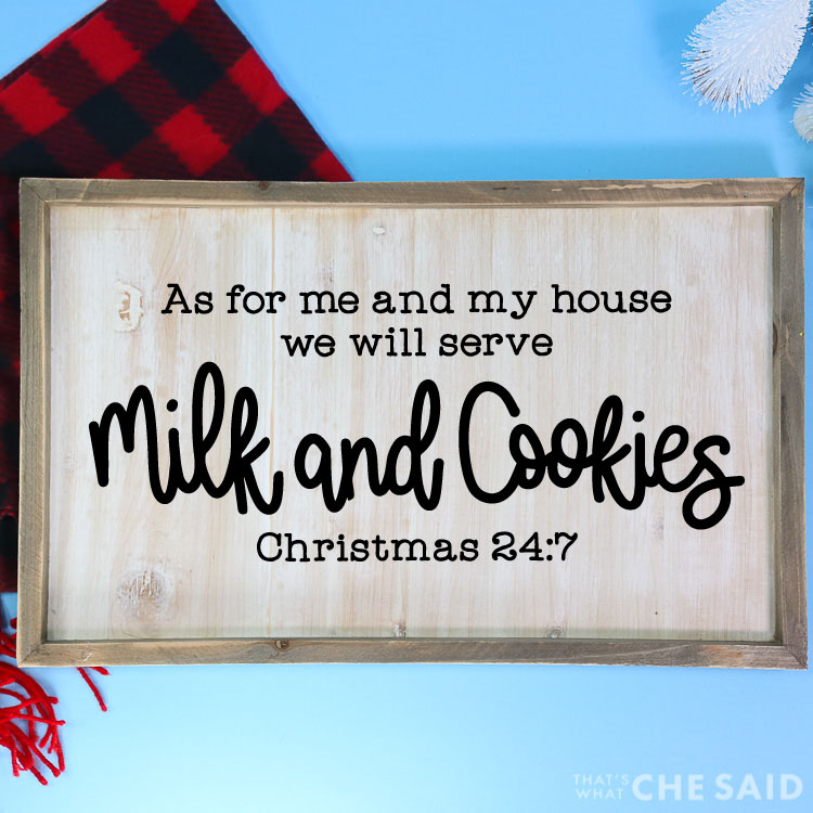 Blue background with red and black buffalo check scarf and bottle brushes in background. Sign with Milk & Cookies SVG on a wooden sign in square format