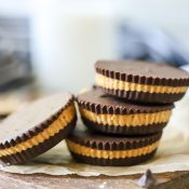 Vertical shot of close up homemade peanut butter cups