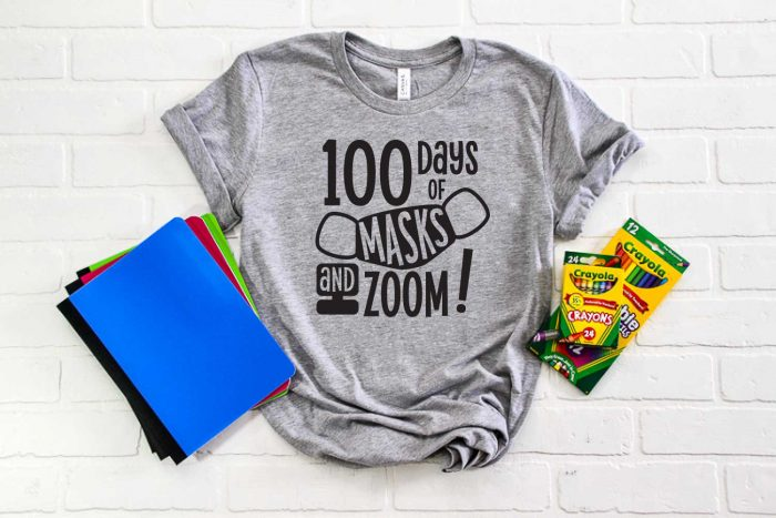 """Grey Shirt with """"100 Days of Masks & Zoom"""" design with school supplies - horizontal format"""