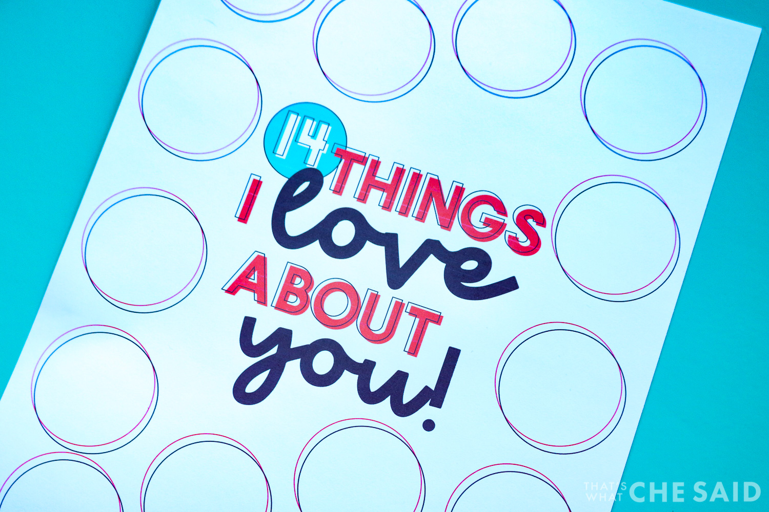 Close up of 14 things I lvoe about you printable