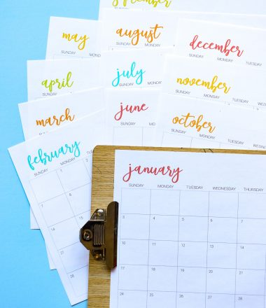Blue background with white printable calendar sheets for year 2021