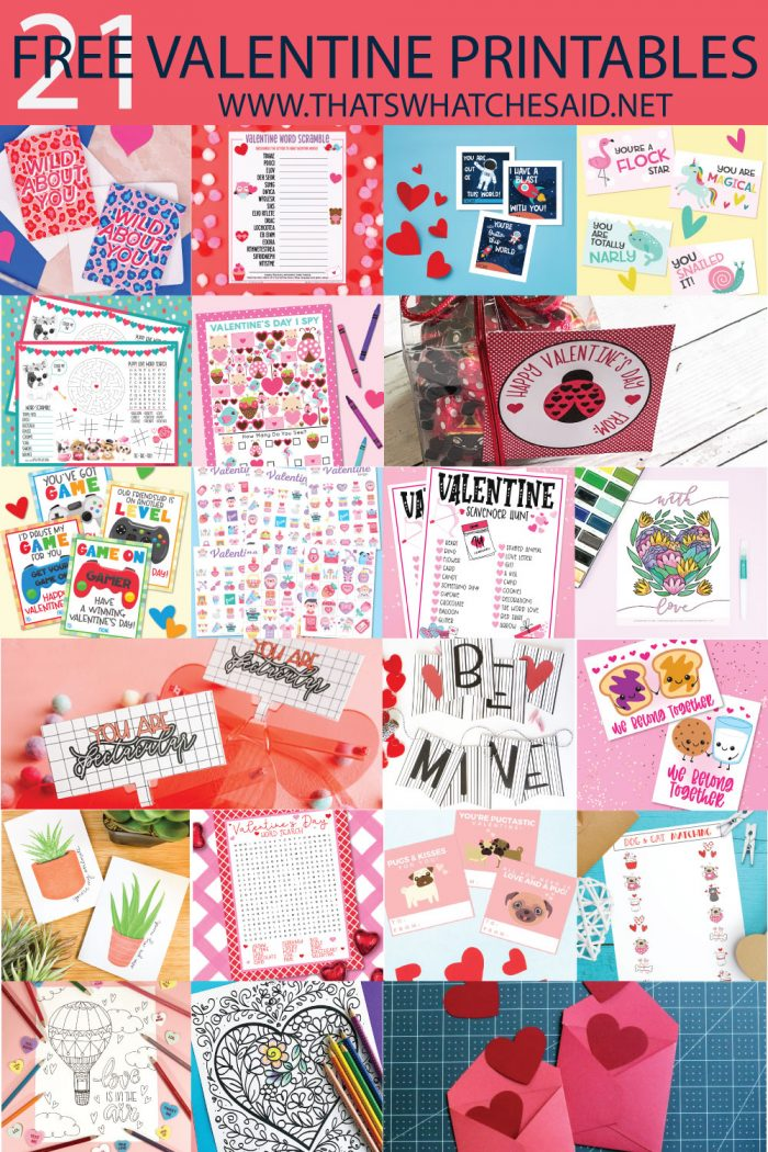 collage of 21 free valentine printables