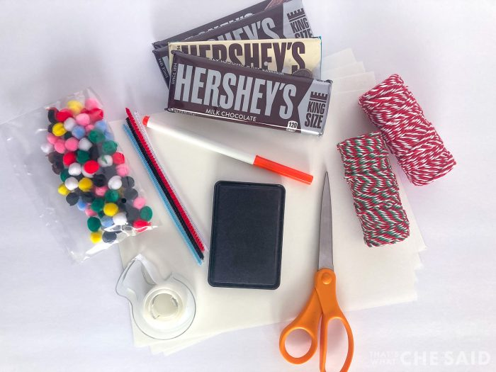 Hershey bars, crafts supplies to make snowman candybars