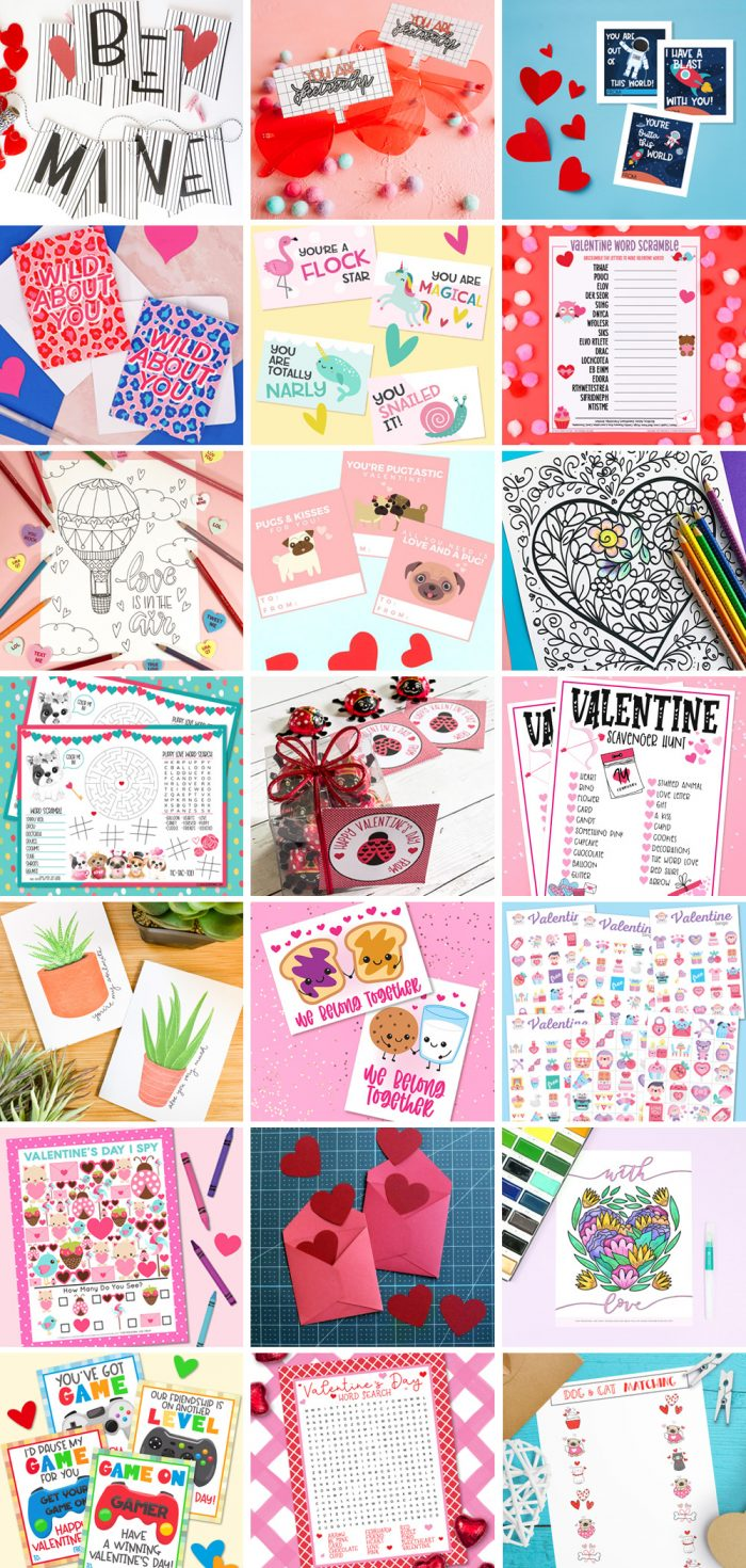 Collage of 21 Free Valentine Printables from our #totallyfreeprintable hop