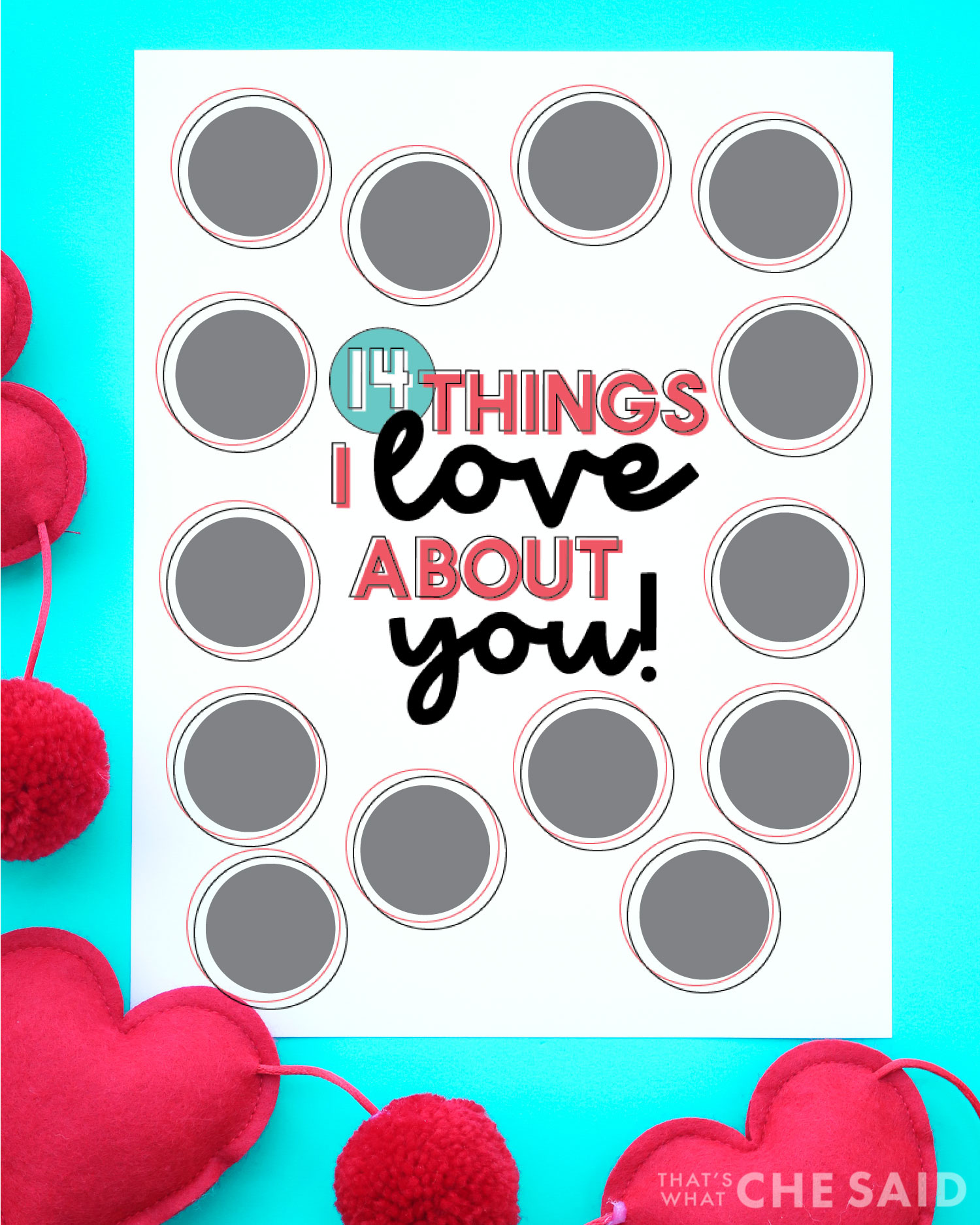 Scratch off Valentine Printable on Aqua background with hearts