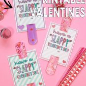 Pink background with Slap Bracelet Valentines with writing for Pinterest
