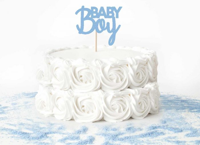 """White Rose Cake with Blue """"Baby Boy"""" Cake Topper"""