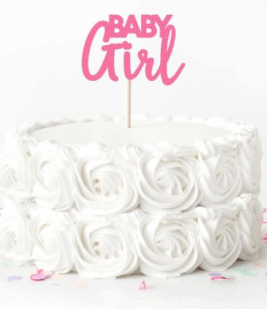 "White Rose Cake with Pink ""Baby Girl"" Cake Topper"