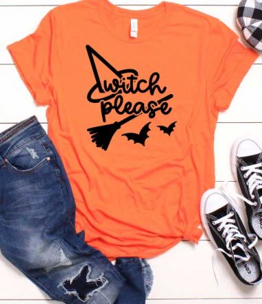 White shiplap with orange t-shirt with halloween svg and pumkin black converse and jeans as props in Vertical format
