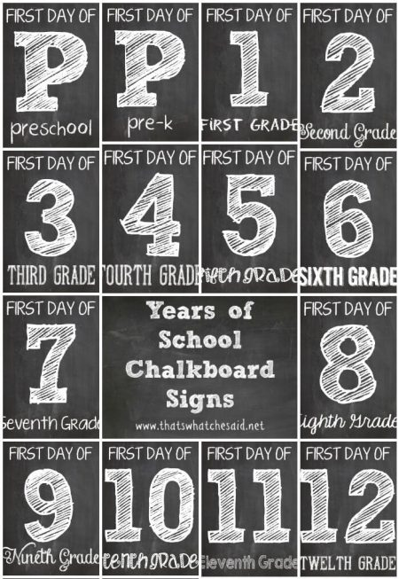 First Day of School Printable Chalkboard Signs